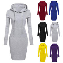 Hooded Hoodie Dress For Women  Autumn Winter Fleece Solid Hoodies With Pockets Women's Sweatshirt Dresses Casual Vestidos