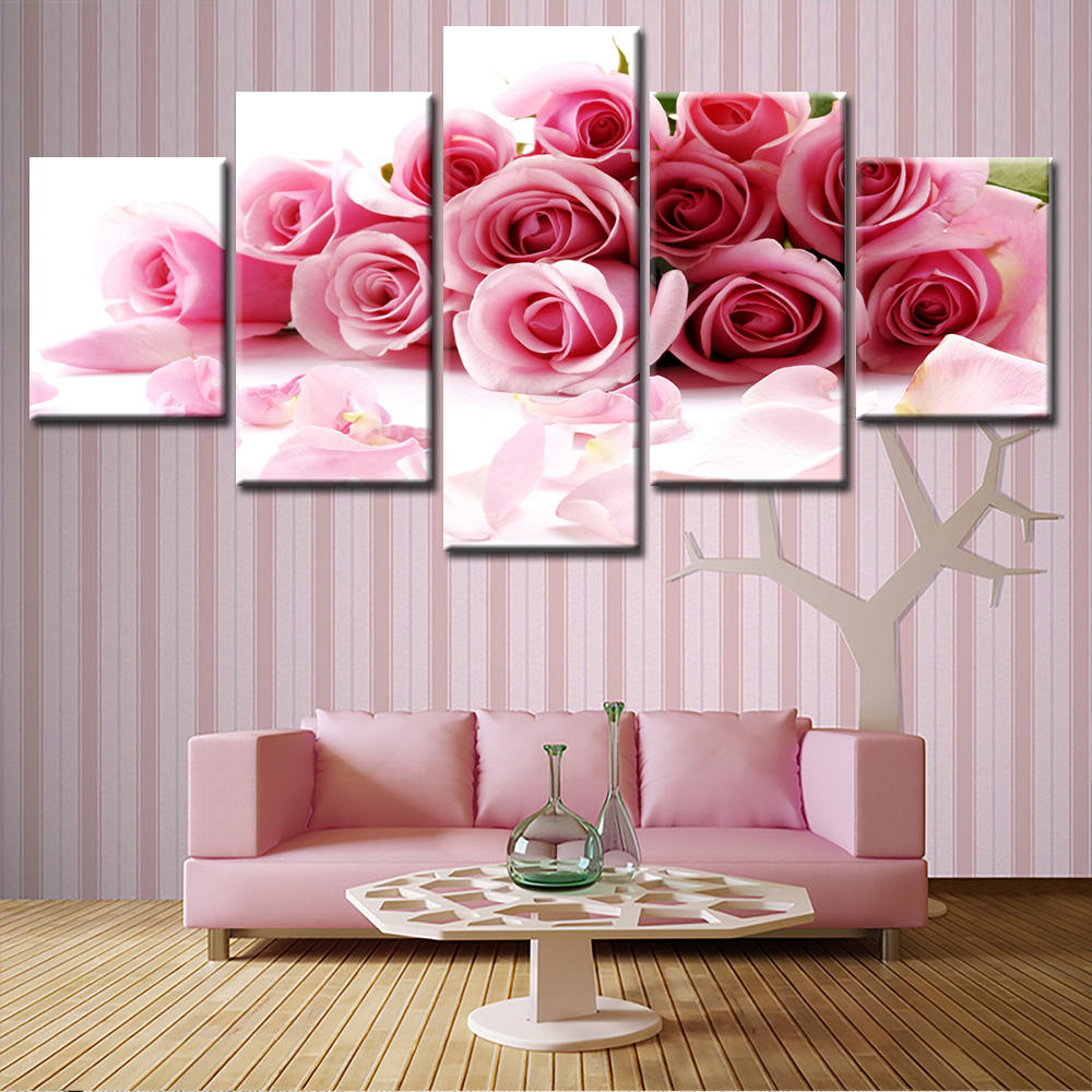 5 Piece pink rose flowers Painting Home Decor Contemporary Art Canvas Prints Modular Pictures Free Shipping