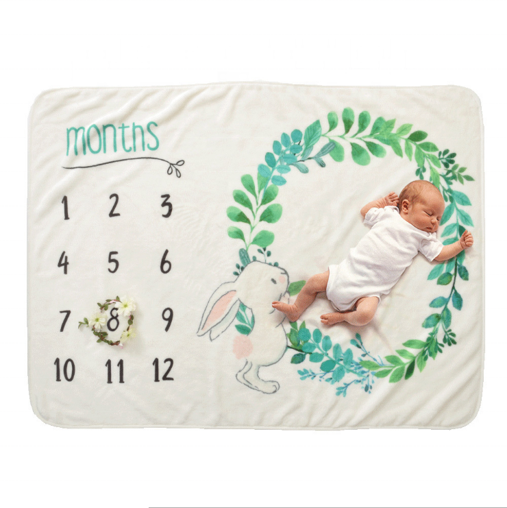 Newborn Photography Prop Monthly Swaddle Milestone Baby Blanket
