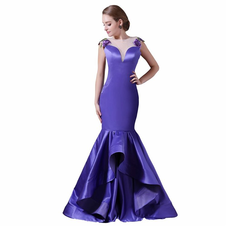 Royal Blue Satin Mermaid Embroidery Applique Lace Sheer Back Floor Length Prom Dress