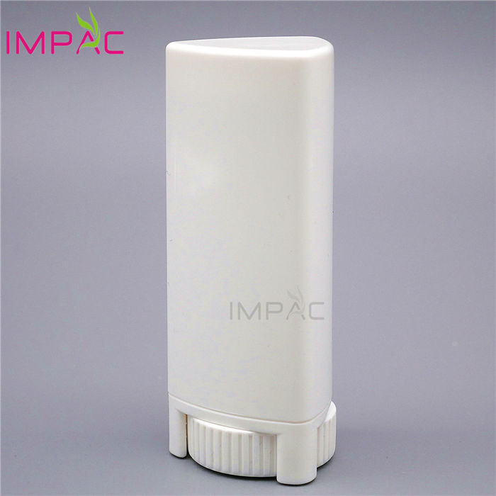 White triangle plastic twist up anti blister deodorant stick bottle
