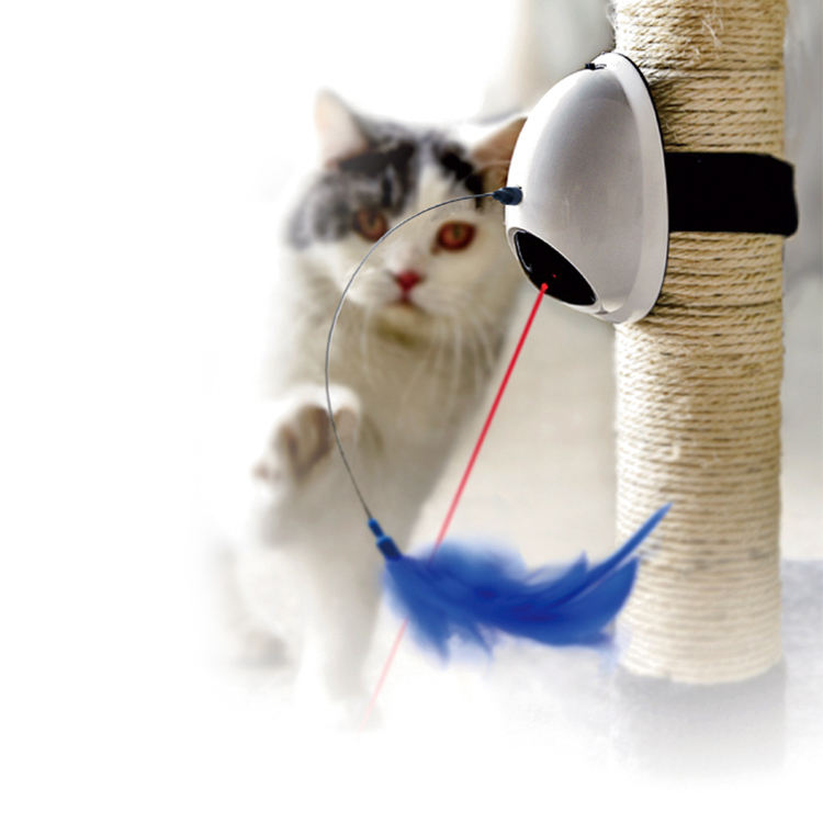 Interactive Electronic Laser Cat Toy, Removable Cat Electronic Rotating Feather Toys Pet Funny Stick Cat Teaser