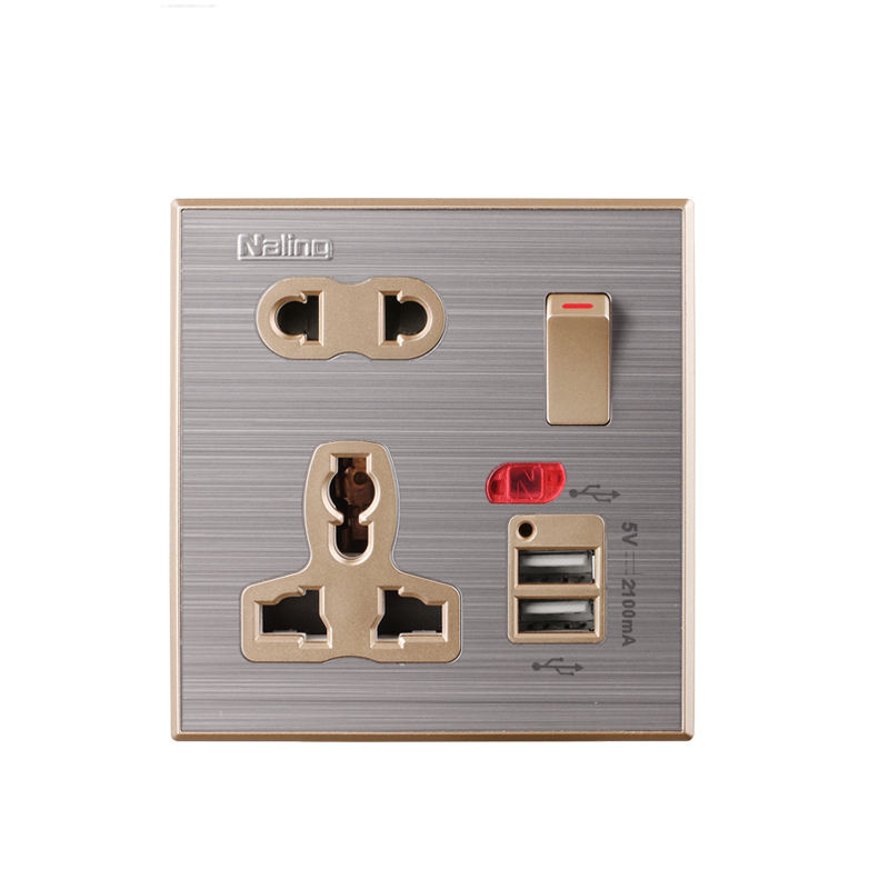 Naling High Quality Multi Plug Universal Usb Wall Socket With PC Base