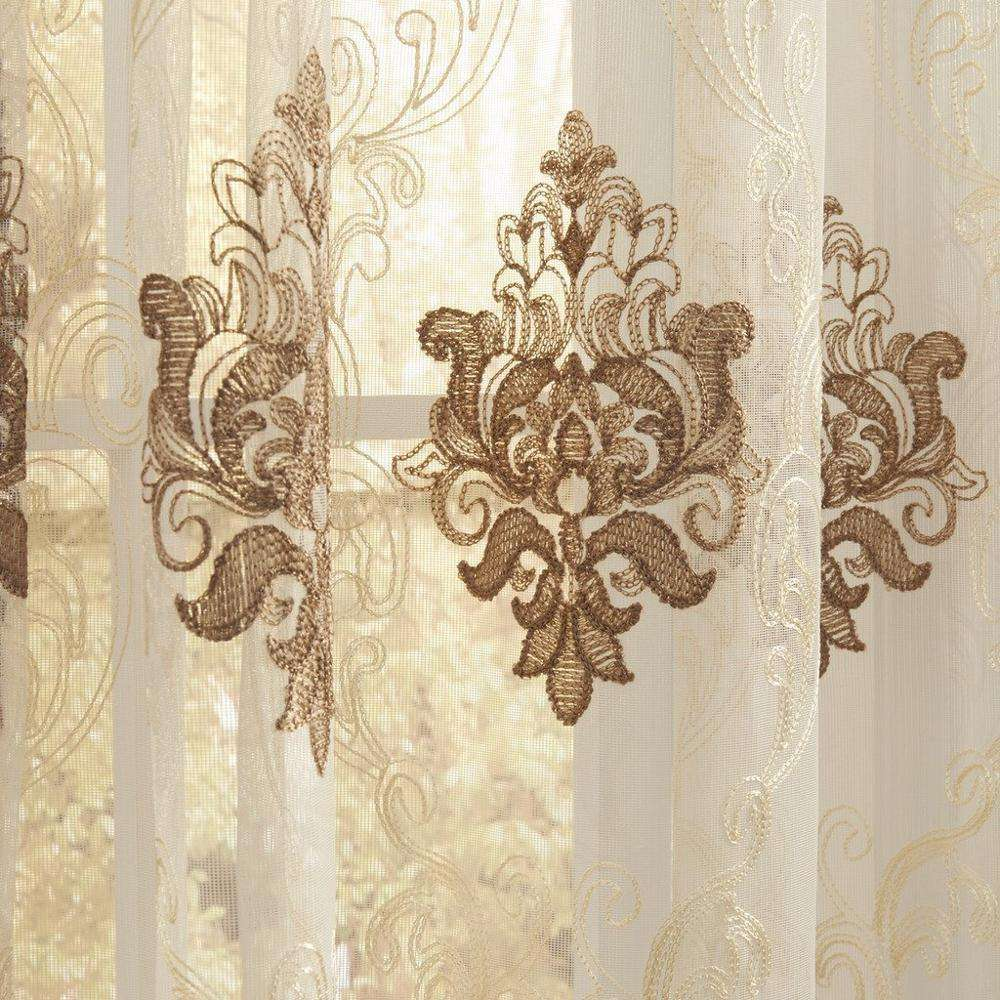Luxury Wholesale Embroidery Sheer Curtain Fabric Drapes and Curtains Luxury