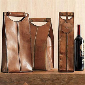 Brown soft leather wine carrier leather wine bag with customized tag