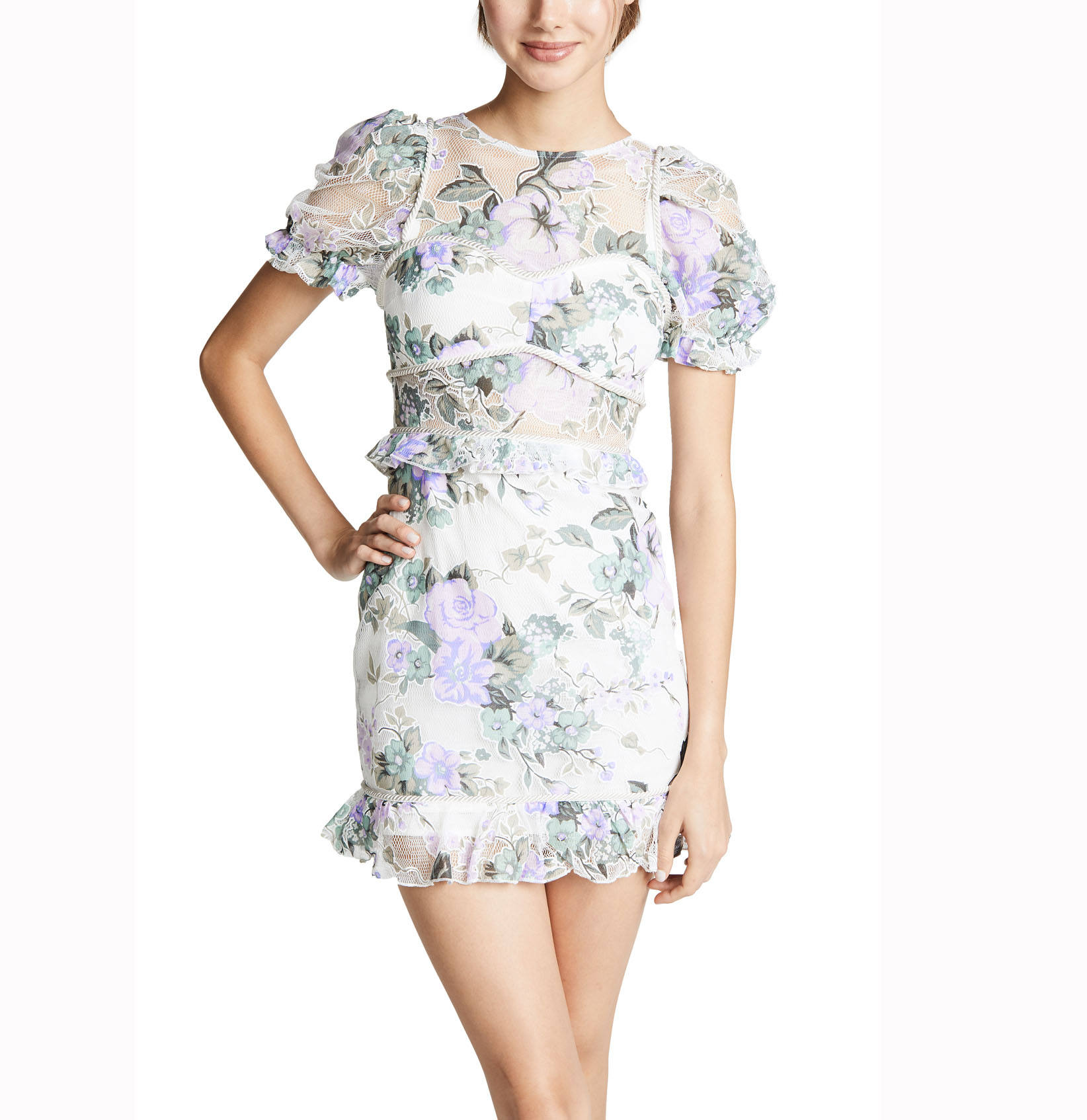 Mesh Knitting Short Puff Sleeve Floral Print Transparent Sweet Mini Women Dress OEM