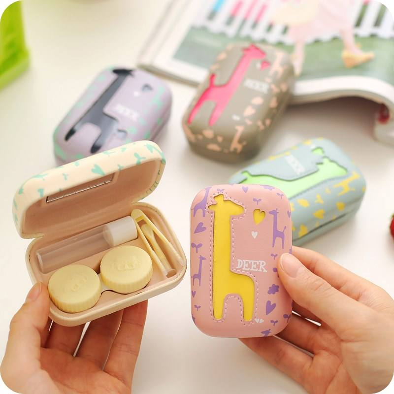 Custom cute mini anime PU leather contact lens case carrying box
