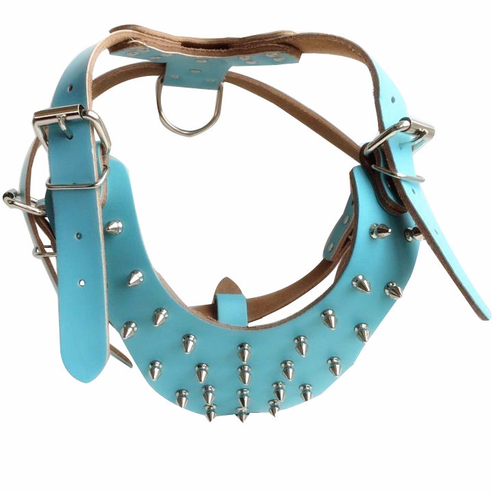 Genuine leather spiked pet tactical dog harness,