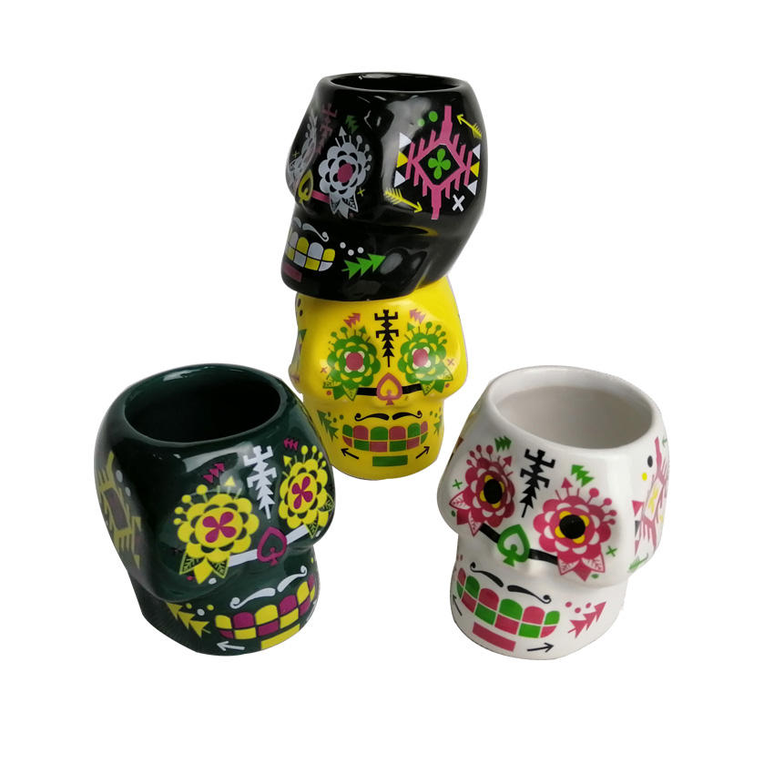 Mini Ceramic 2oz Mugs Small Skull Shot Cup shot glass