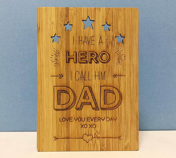 Popular engraved wood greeting card for Father or Dad Birthday Card