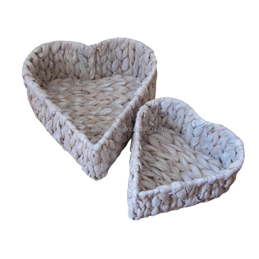 Wholesale White Water Hyacinth Heart Shaped Storage Baskets Set of 2