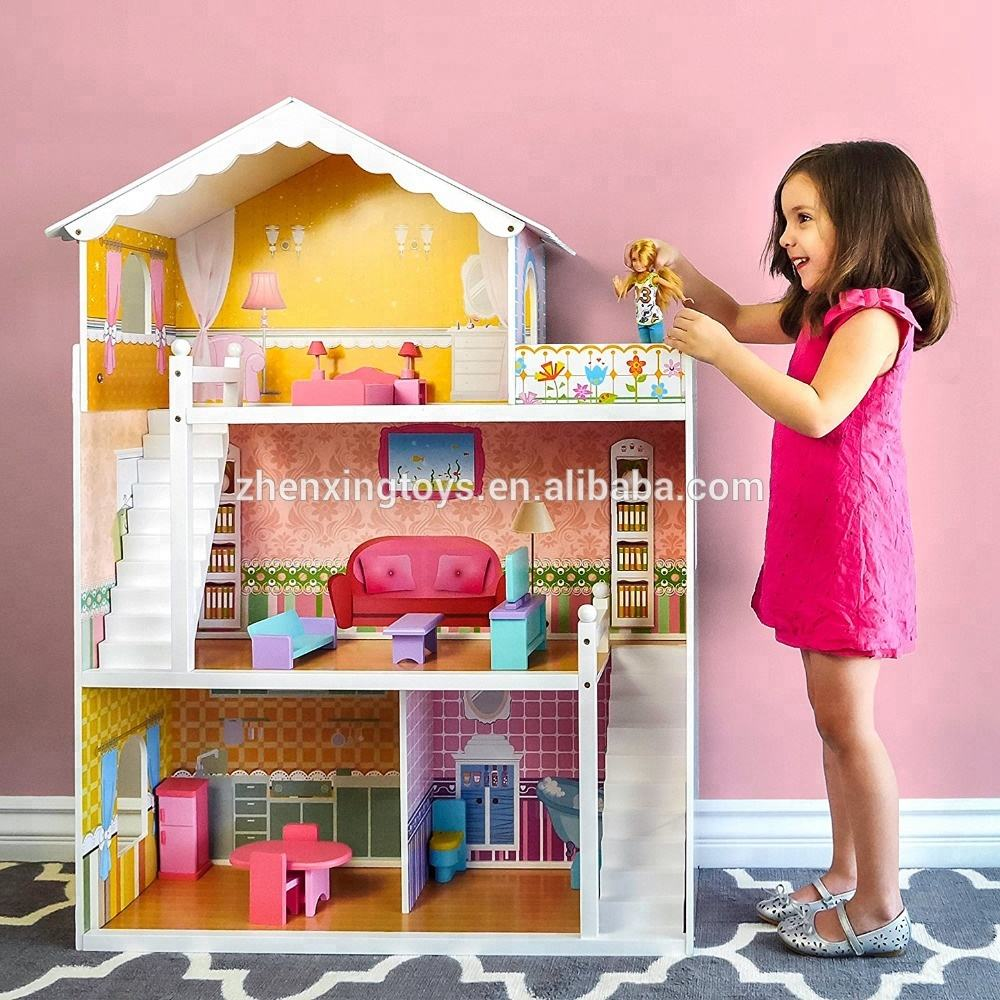 big wooden children doll house 3 floors