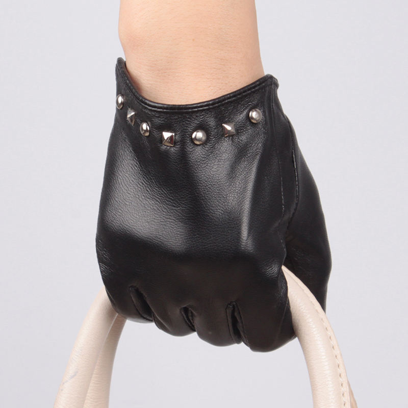 Spring silk phone touch sexy ladies hand gloves with nails leather