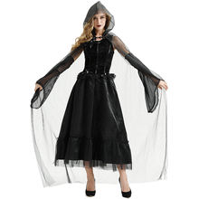 YR Carnival Ladies Halloween Dress Black Silk cloak Womens Adults halloween costume