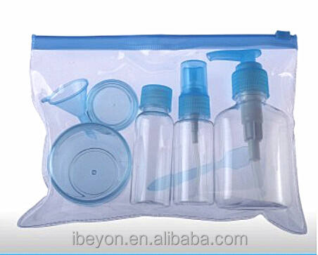 Small bottle beauty disposable hotel travel kit for ladies with pvc bag