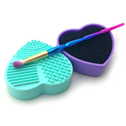 Different heart shaped makeup cleaner tool silicone cosmetic brush cleaning pad