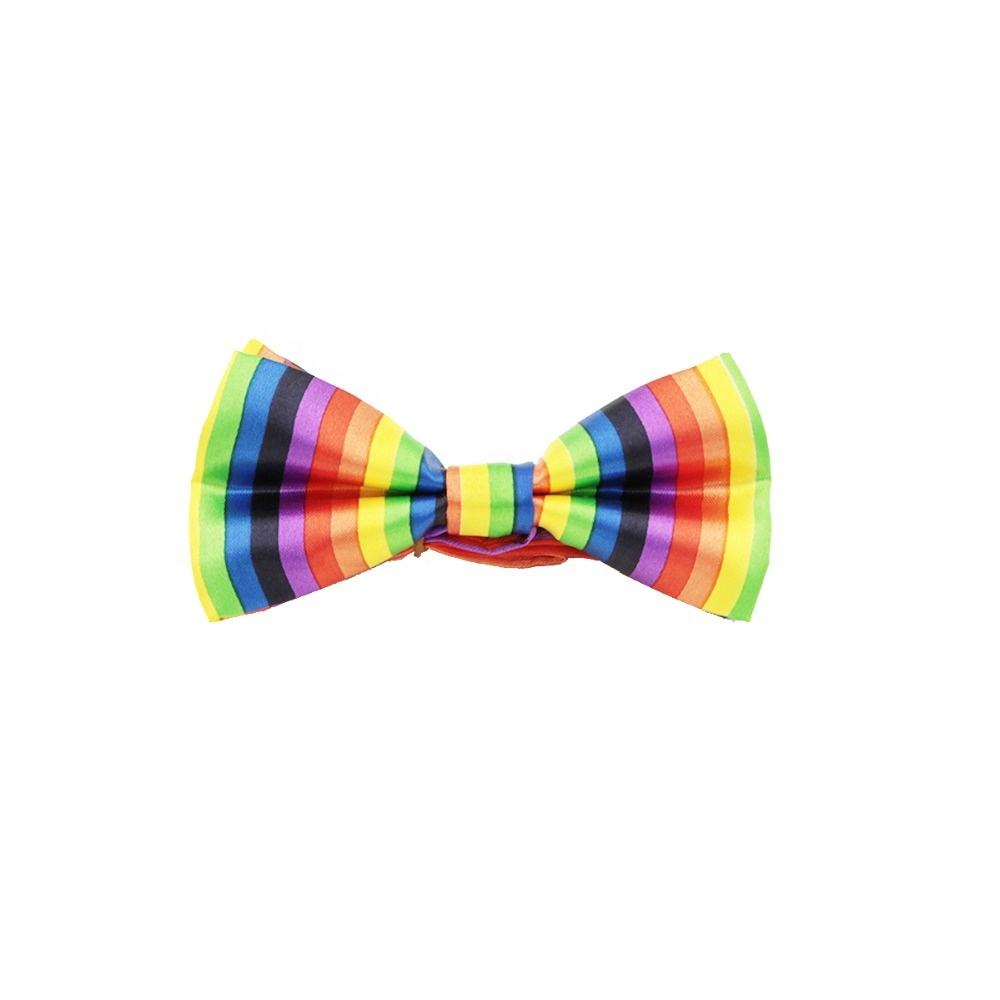 Wedding Party Pre-Tied Adjustable Polyester Rainbow Printed Wholesale Silk Finish Tuxedo Stripes Boys Bow Tie