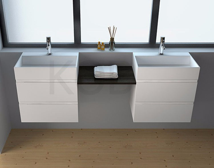 Wash basin wall hung cheap bathroom vanity sets, artificial stone resin double faucets sink