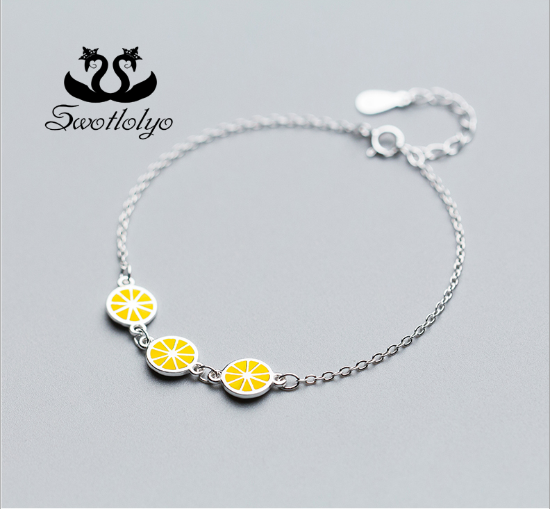 Factory Wholesale Simple Three Lemon S925 Pure Silver Bracelet