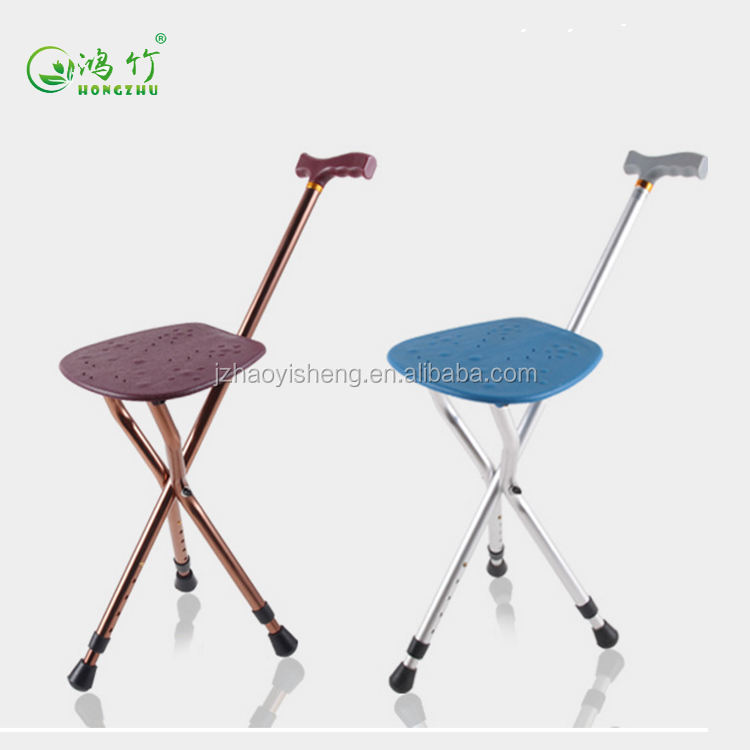 Three legs cane elderly walking stick with chair seat