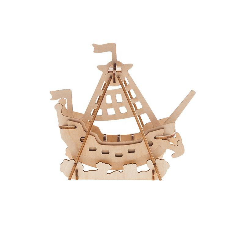 Educational 3D Puzzle DIY Toys Wooden Boats For Kids