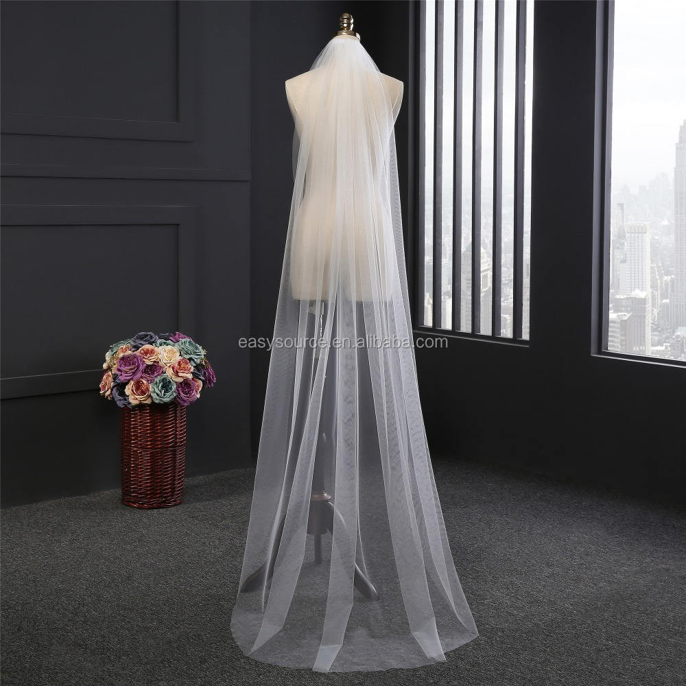 1T veils bridal White Ivory Cathedral veils Wedding Cut Veil