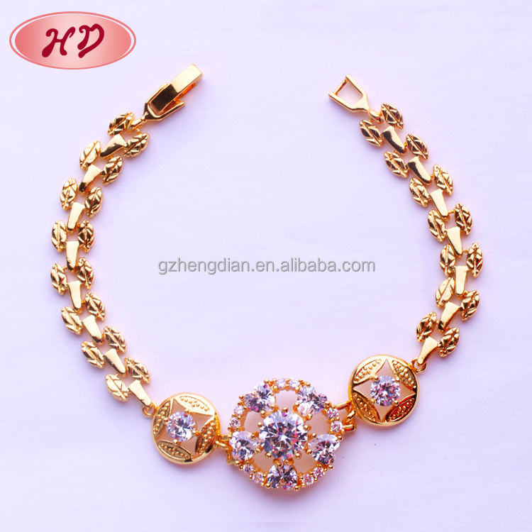 Wholesale New Fashion Jewelry Design couple Bracelet Brass Cubic Zirconia 18k gold plated Bracelet for womens