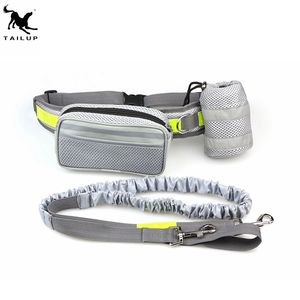 Bungee Hands Free Dog Leash for Running Walking Hiking with two removable waist pockets