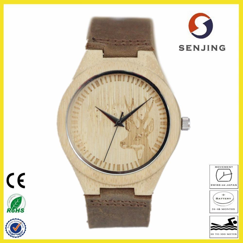 2017 natural de moda bobo garantía de reloj ocasional de <span class=keywords><strong>aves</strong></span> de bambú de bambú unisex reloj con movimiento de cuarzo reloj OEM