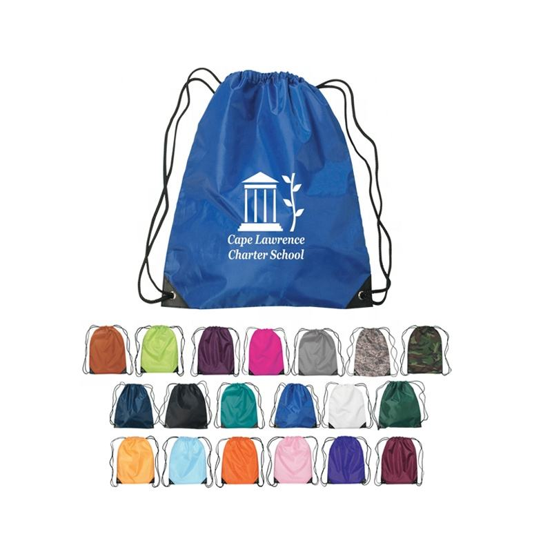 2020 Custom Logo Printed 210D Polyester Drawstring Bag for Promotions