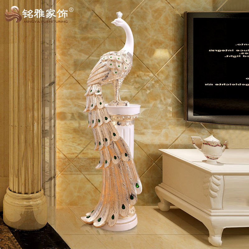Creative home decoration animal sculpture resin peacock model