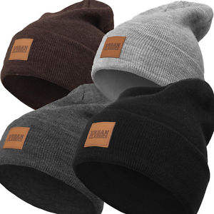 Fashion Winter hat custom leather patch beanies