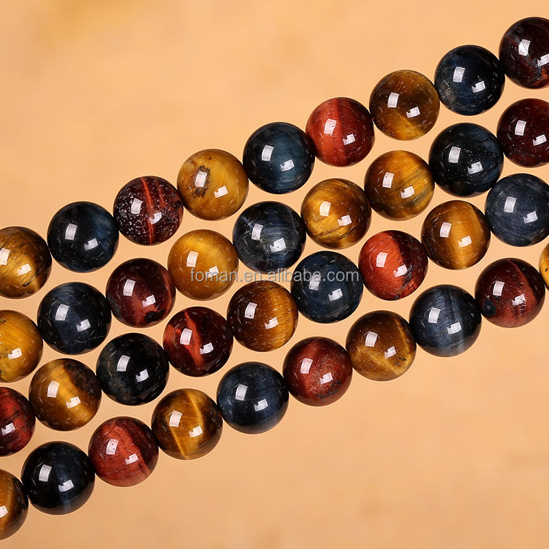 8mm natural round colorful loose tiger eye mixed loose gemstones