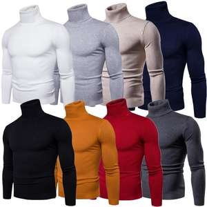 Mens Long Sleeve High Neck Knitted Army Wool Sweaters