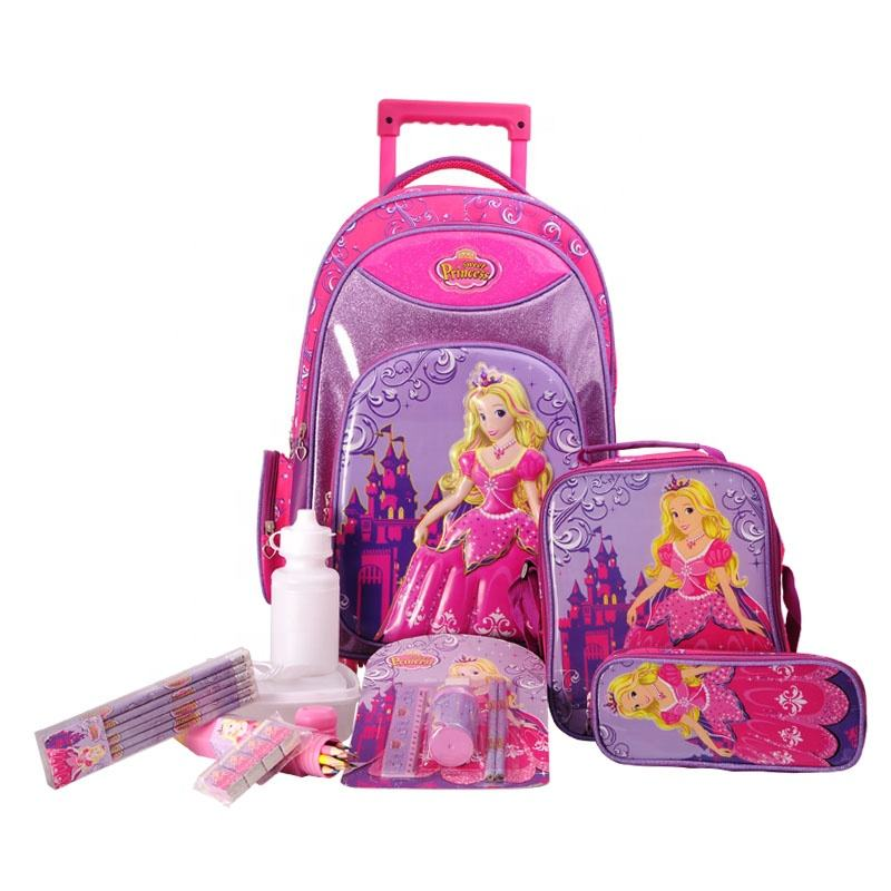 Hot Selling 19Inch Kid Trolley Tas Schooltassen Met Briefpapier Cartoon Trolley Tas Set