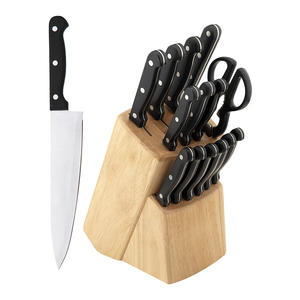 15pcs german stainless steel professional kitchen knife set w/wood block