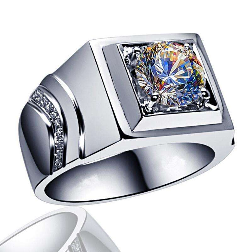 Fashion new Cool 18K White gold filled AAAAA zircon ring men's ring Party Wedding Jewelry Accessories Ring