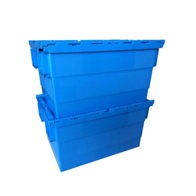 60L Virgin pp nesting storage Attached Lid Tote plastic turnover crate