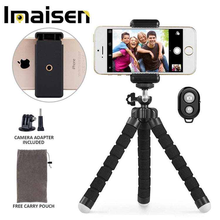 Phone tripod Portable and Adjustable Camera Stand Holder with Remote and Universal Clip for iPhone, Android Phone, Camera