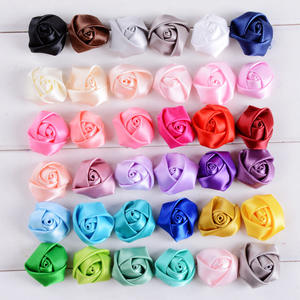 Ready to ship wholesale 5cm rose flower bud satin fabric ribbon bow for garment accessories