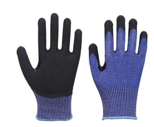 15 Gauge Nitrile Sandy Reinforcement Thumb Coated Cut Protection Gloves