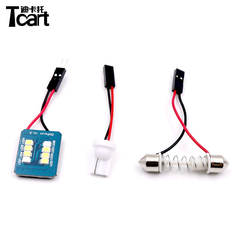 Tcart auto lighting system blue turn to white 2835 8smd Dome Festoon C5W t10 2Adapter 12V reading light car led reading light
