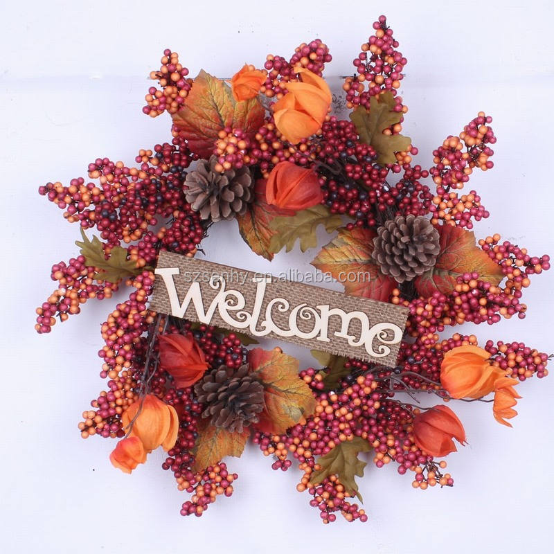 Beautiful Fall Door Wreath Maple Leaf Wreath for Fall Harvest