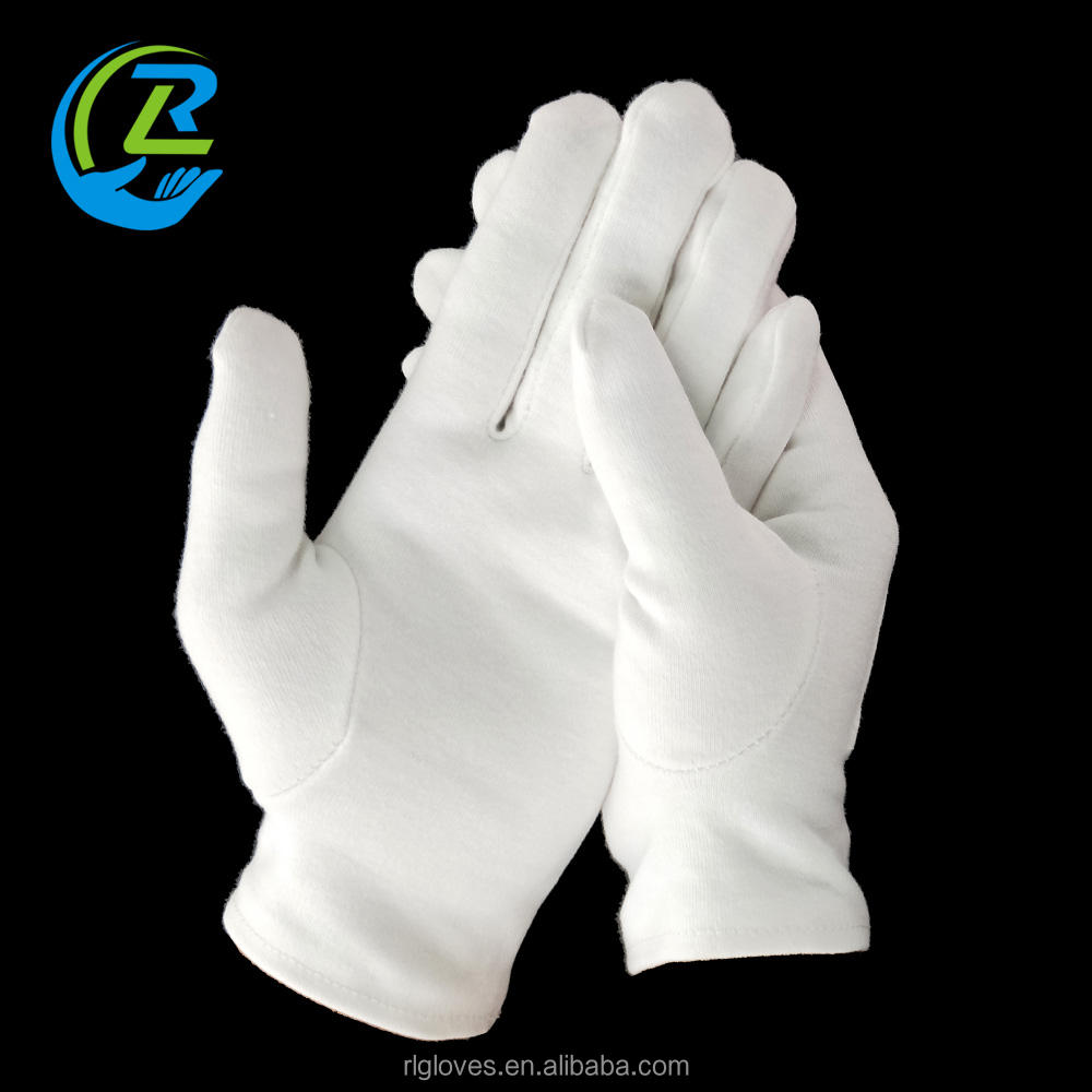 5017 Plain cotton white inspection parade gloves