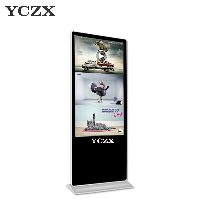 Ultra HD commercial double screen banner lcd led touch screen advertising display stand with video digital advertising player