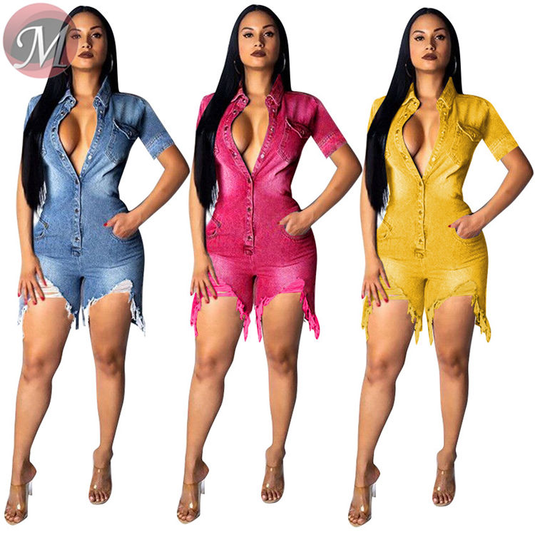 9062433 queenmoen hot sale wholesale summer washed design color rip jeans short rompers for woman