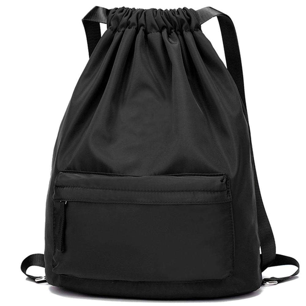 Large Shopping Sport Drawstring Backpack with Front Pocket Drawstring Bag Waterproof