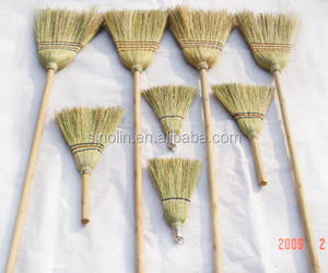 natural sorghum straw corn broom with wooden handle for sale