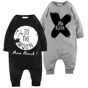 Autumn Long Sleeve Cotton XO No Sleep Printed Baby+ Rompers Jumpsuit Baby Boy Girl Clothes