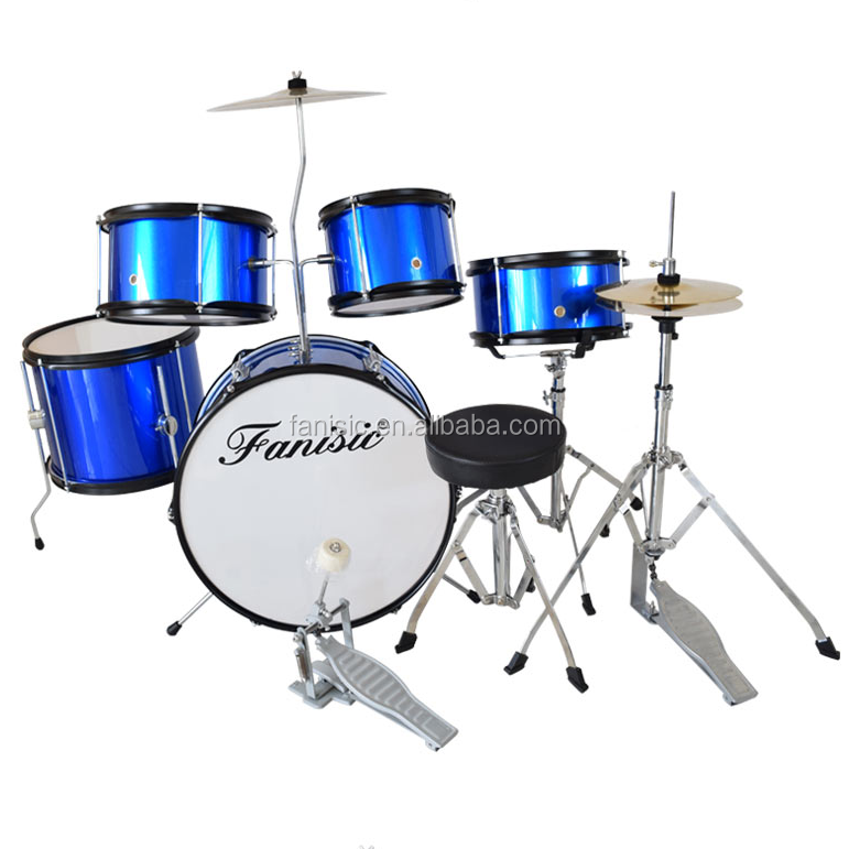 5-pc Junior Drum Set, a superfície do PVC, com Fezes Címbalos Oi-hat stand Snare stand Pedal